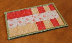 Quilted Patchwork Mug Rug in Strawberry by SweetDreamsbySarah, $8.00