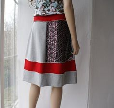 Knit cotton skirt in red black and grey by ThongbaiTatong on Etsy