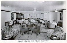 RMS Queen Elizabeth - 1939 - Tourist Class ~ The Tourist Class Main Lounge was a smaller venue, but without doubt a most pleasing one