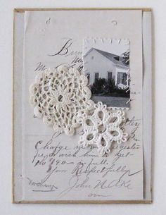 tenderblue:    (via Mixed media collage on book cover Home and Lace by ColetteCopeland)