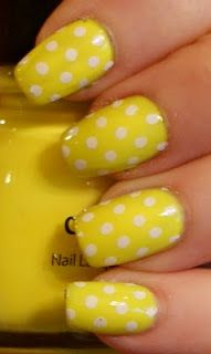 yellow dotted nails