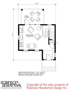 This is the 597 Sq. Prince Edward Island small home design/plans by Robinson Residential. The Prince Edward small home plan is inspired by the iconic farm house captured in the class… Small House Plans, House Floor Plans, Building Plans, Building A House, Little Houses, Tiny Houses, Property Design, Cottage Plan, Home Design Plans
