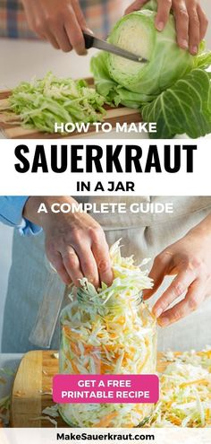 Makesauerkraut.com shares all you need to know about how to make a good jar of homemade sauerkraut. This complete guide will show you the step-by-step process from preparing the materials and tools, chopping the cabbage and veggies, adding the right amount of salt, packing and submerging the sauerkraut in brine, the fermentation process, and even how to eat and enjoy your favorite probiotic sauerkraut. Get a printable recipe! Making Sauerkraut, Homemade Sauerkraut, Sauerkraut Recipes, Fermented Cabbage, Fermented Foods, Healthy Dessert Recipes, Real Food Recipes, Desserts, Paleo Recipes