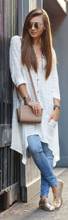 The Mysterious Girl Golden Flats Everyday Stylish Fall Outfit Idea