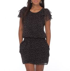 Ruffle Sleeve Polka Dot Dress with Pockets - Dresses for All Occasions - Events