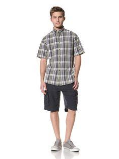 75% OFF Tailor Vintage Men's Short Sleeve Plaid Shirt (Navy/Pistachio Plaid)