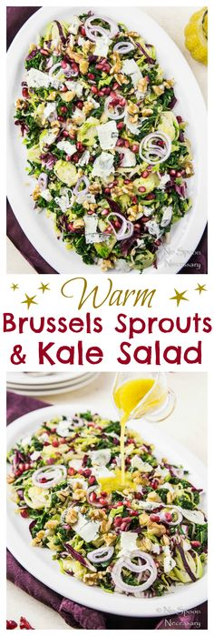 Warm Brussels Sprouts & Kale Salad with radicchio, gorgonzola, walnuts and a super simple apple cider- dijon vinaigrette