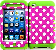 """myLife 2 Layered Protection Hybrid Case for Apple iPod 4 iTouch {Green, Pink and White """"Polka Dotted Circles"""" Three Piece SECURE-Fit Rubberized Gel} myLife Brand Products http://www.amazon.com/dp/B00VU08YRU/ref=cm_sw_r_pi_dp_iqdmvb07FPS9Q"""