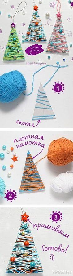 Passo a passo em foto de uma árvore feita com cartolina e linhas coloridas para enfeites decorativos de natal; Visite e inscrev...