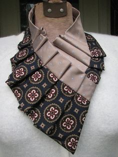 Pleated Silk Scarf Pleated Silk Ascot Ruffled Neck Scarf