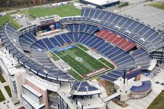Foxborough, Massachussetts Gillette Stadium has been the home of the New England Patriots since 2002. Situated just outside Boston, in Foxborough, Massachusetts, the Populous-designed venue can seat 68,750 fans.