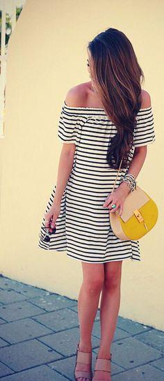 Stripe Off Shoulder Short Sleeve Short Dress