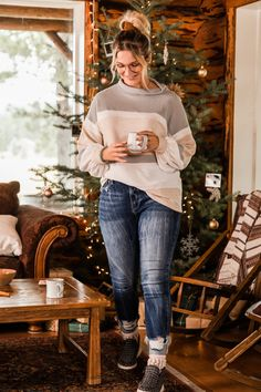 BKE color-blocked striped thermal shirt // keep your holiday style simple with a neutral, cozy shirt and classic skinny jeans | Buckle Holiday Style, Holiday Fashion, Winter Fashion, Thermal Shirt, Shirt Blouses, Shirts, Waffle Knit, Neutral, Skinny Jeans