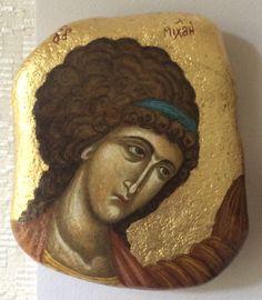 Icon on the stone by Jolanta Kuderska Byzantine Icons, Byzantine Art, Religious Icons, Religious Art, Orthodox Catholic, Small Icons, Orthodox Icons, Sacred Art, Stone Painting