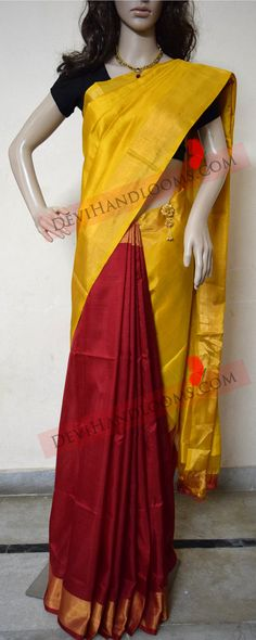 Check out this item in my Etsy shop https://www.etsy.com/in-en/listing/467082960/uppada-half-and-half-handloom-silk-saree