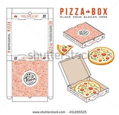 stock vector design of boxes for pizza. unwrapped box with layout elements and presentation Diy And Crafts, Crafts For Kids, Paper Crafts, Foam Crafts, Paper Art, Miniatures Barbie, Dollhouse Miniatures, Paper Box Template, Origami Templates