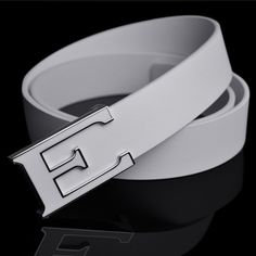 White strap male fashion belt male trend of the letter genuine leather strap smooth buckle cowhide pocket