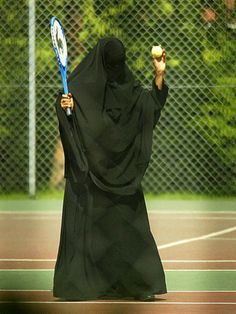 Tennis in Niqab and Abaya with Khimar