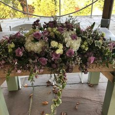 A stunning ceremony arrangement for this wedding . Lilac roses, white hydrangea and scented foliage's Lilac Roses, Table Flowers, Outdoor Ceremony, Wedding Season, Wedding Bells, Hydrangea, Flower Art, Floral Wreath, Tables