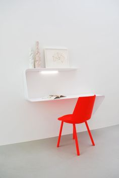 """MAMBA  Wall mounted desk with LED light in Cristalplant material from MDF Italia. W53"""" xH36"""" x D15.75"""". Pictured with e15's Houdini chair i..."""