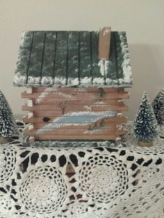 Rear of Christmas log cabin