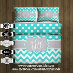 Polka dot and Chevron Duvet with 2 Matching Shams -  Aqua and Gray Monogrammed Bedding - Personalize with Name or Monogram - Create your Bed - pinned by pin4etsy.com