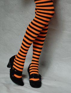 Orange and Black Striped Tights.