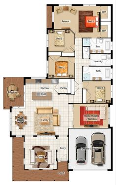 Namarra Barrington Homes. I like that you enter to the living space and that all the bedrooms are together. There's a theatre/noisy room, a room, and the room could be a study. Definitely a plan that would suit us House Layout Plans, Family House Plans, Dream House Plans, Small House Plans, House Layouts, House Floor Plans, My Dream Home, House Floor Design, Home Design Floor Plans