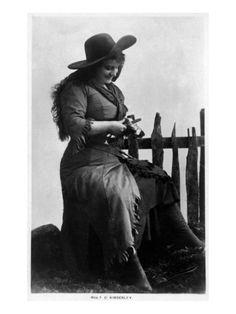 Cowgirl Portrait - Miss F G Kimberley Cutting an Apple Print at Art.com
