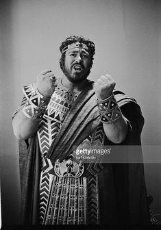 Luciano Pavarotti in costume as Radames.