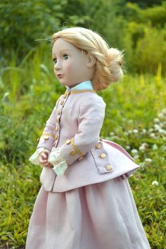 Doll Suit Dress Riding Habit Century for A Girl for All Girl Doll Clothes, Girl Dolls, Riding Habit, 18th Century Dress, Under The Skirt, Historical Clothing, Dusty Pink, Pleated Skirt, Pink And Gold