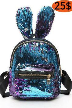 Bags - Cute Big Rabbit Ear Mini Travel Bling Mini Backpack 921822883b