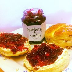 Snack time in the office! Freshly baked fruit scones with Hawkshead Relish Raspberry & Vanilla jam! #lush