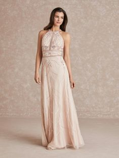 Adrianna Papell Platinum 40285 Modern Gown Types Of Dresses, Necklines For Dresses, A Line Gown, Dress Silhouette, Bridesmaid Dresses, Wedding Dresses, Adrianna Papell, Formal Gowns, Evening Dresses