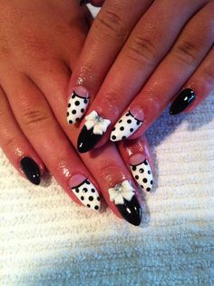 Almond Gel Nails w/ Polka Dots and Bows