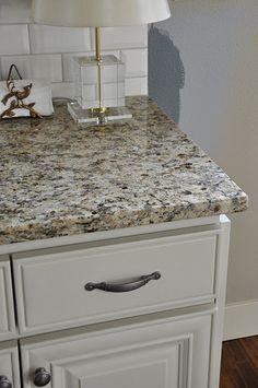 Love that granite and subway tiles