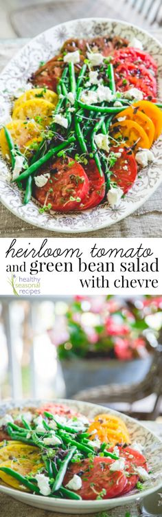 Heirloom Tomato Salad with Green Beans, Herbs and Fresh Goat Cheese! Amazingly delicious and naturally gluten-free!