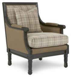 Parker Plaid Accent Chair, Tan. Upholstered ...