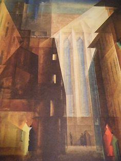 "Lyonel Feininger. ""Church of the Minorites"", 1926.  Lithograph."