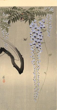 Ohara Koson(小原古邨)「Wisteria and Bee」(c.1930)