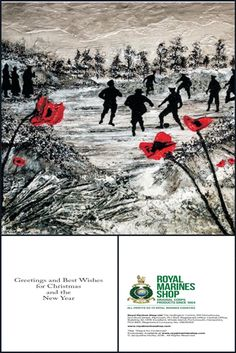 Christmas Cards exclusive to the ROYAL MARINES SHOP www.royalmarinesshop.com All profits to Royal Marines Charities  https://royalmarinesshop.com/shop/product/jaqueline-hurley-peace-for-christmas-1970?category=123  Click the link to purchase your 'Peace For Christmas' Christmas cards exclusively at the Royal Marines Shop! £4.95 for pack of 10 cards