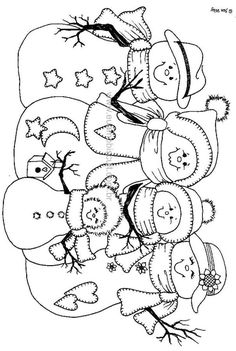 Snowmen stitchery- cute snowman family to paint or quilt. Christmas Coloring Pages, Coloring Book Pages, Coloring Pages For Kids, Snowman Coloring Pages, Christmas Embroidery, Hand Embroidery, Embroidery Designs, Christmas Colors, Christmas Crafts