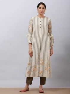 Buy Grey White Pittan Embroidered Cotton Striped Kurta online at Theloom