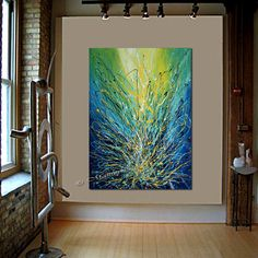 XL Turquoise Blue Original Artwork Modern Art Oil by largeartwork