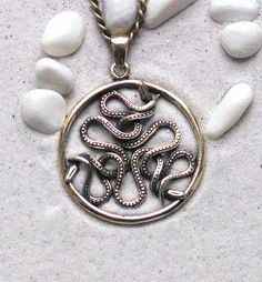 Snakes (Auryn) : Bronze Handmade Pendant with Chain by MagicBronze on Etsy