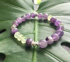 Purple Amethyst Green Prehnite Bracelet, yoga bracelet, healing crystals, bracelet stack, handmade bracelet by YellowMangoBracelets