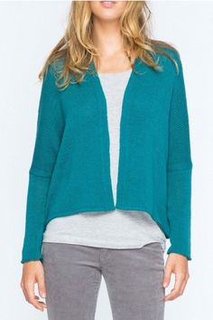 Lightweight cotton cardigan in beautiful peacock green will brighten up any Fall wardrobe! The cotton fabric is soft and comfortable and perfect as a layering piece over blouses, tee shirts, or dresses.    Size XSfits sizes 0 -4 while; Small/Medium fits sizes 6 -10   Dean Cotton Cardigan by Wooden Ships. Clothing - Sweaters - Cardigans Canada