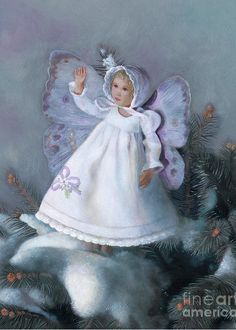 """See the snow sparkle!  Online, at Fine Art America, this snow fairy image is available as prints, framed prints, and cards at this link: http://fineartamerica.com/featured/celestine-snow-fairy-nancy-lee-moran.html  There """"Celestine"""" can be purchased on totes, pillows, and phone cases, too!  Imaginative Realism, Fantasy Art © Nancy Lee Moran #winter #snow #beauty #innocence #fairy #girl #peace #spruce"""
