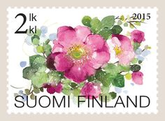 Kukkaloistoa 2/2 (2015) Flower Stamp, Flower Art, You Are The World, Vintage Stamps, Mail Art, Stamp Collecting, Mailbox, Rose, Crafts