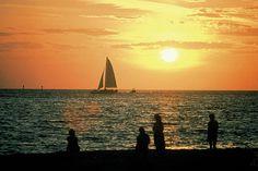 Panama City Beach sunset & sailboat